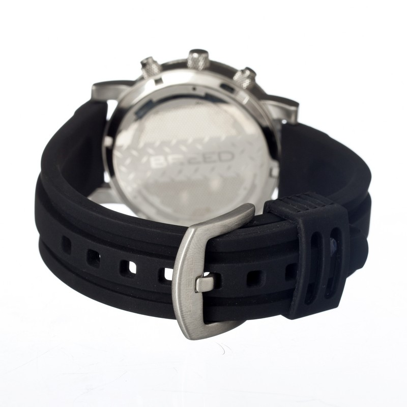 Breed Manning Chronograph Men's Watch w/ Date-Silver/Black BRD2602