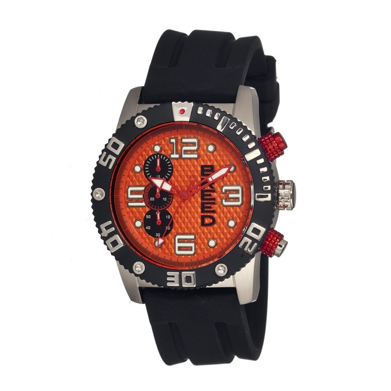Breed Grand Prix Chronograph Men's Watch  -  Silver/Orange BRD3904