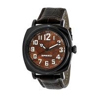 Breed Mozart Wood-Dial Leather-Band Men's Watch  -  Black BRD4203