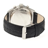 Breed Griffin Leather-Band Chronograph Men's Watch  -  Silver/Black BRD5502