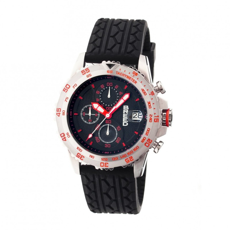 Breed Socrates Chronograph Men's Watch w/ Date  -  Silver/Red BRD6304