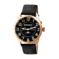 Breed Alton Leather-Band Moon-Phase Men's Watch-Rose Gold/Black BRD6406
