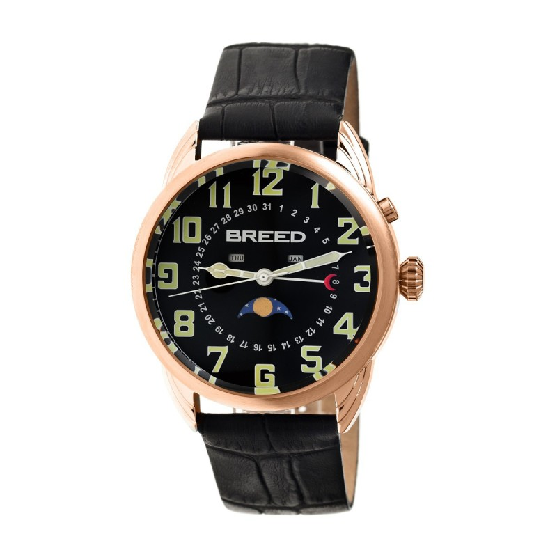 Breed Alton Leather-Band Moon-Phase Men's Watch  -  Rose Gold/Black BRD6406