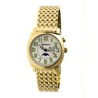 Breed Ray Moon-Phase Men's Bracelet Watch w/ Date-Silver/Black BRD6502