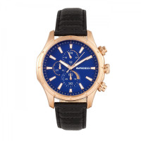 Breed Lacroix Chronograph Leather-Band Watch - Rose Gold/Black BRD6803