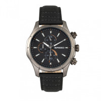 Breed Lacroix Chronograph Leather-Band Watch - Gunmetal/Orange BRD6805