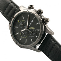 Breed Lacroix Chronograph Leather-Band Watch - Gunmetal/Charcoal BRD6806