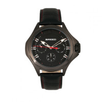 Breed Tempe Leather-Band Watch w/Day/Date - Black/Silver BRD6902