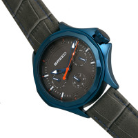 Breed Tempe Leather-Band Watch w/Day/Date - Gray/Blue BRD6905
