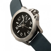 Breed Bryant Leather-Band Watch w/Date - Silver/Black BRD7102