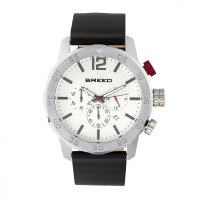 Breed Manuel Chronograph Leather-Band Watch w/Date - Gunmetal/Silver BRD7204