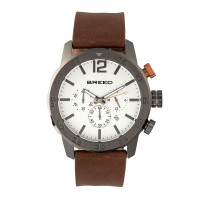 Breed Manuel Chronograph Leather-Band Watch w/Date - Silver BRD7201