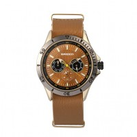 Breed Dixon Leather-Band Watch w/Day/Date - Gold/Light Brown BRD7302