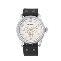 Breed Rio Leather-Band Watch w/Day/Date - Silver/Black BRD7401