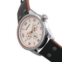 Breed Rio Leather-Band Watch w/Day/Date - Silver/Orange BRD7402