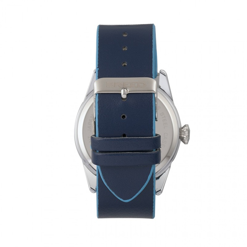 Breed Rio Leather-Band Watch w/Day/Date - Silver/Blue BRD7403