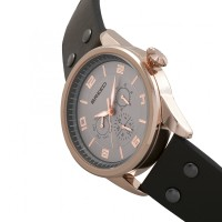 Breed Rio Leather-Band Watch w/Day/Date - Rose Gold/Brown BRD7405