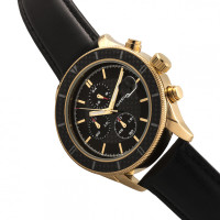 Breed Maverick Chronograph Leather-Band Watch w/Date - Gold/Black BRD7506