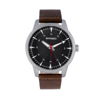 Breed Renegade Leather-Band Watch - Silver/Black BRD7701