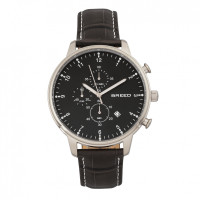 Breed Holden Chronograph Leather-Band Watch w/ Date - Silver BRD7803