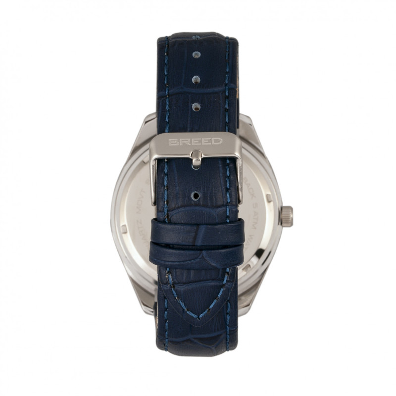 Breed Louis Leather-Band Watch w/Date - Silver/Blue BRD7903