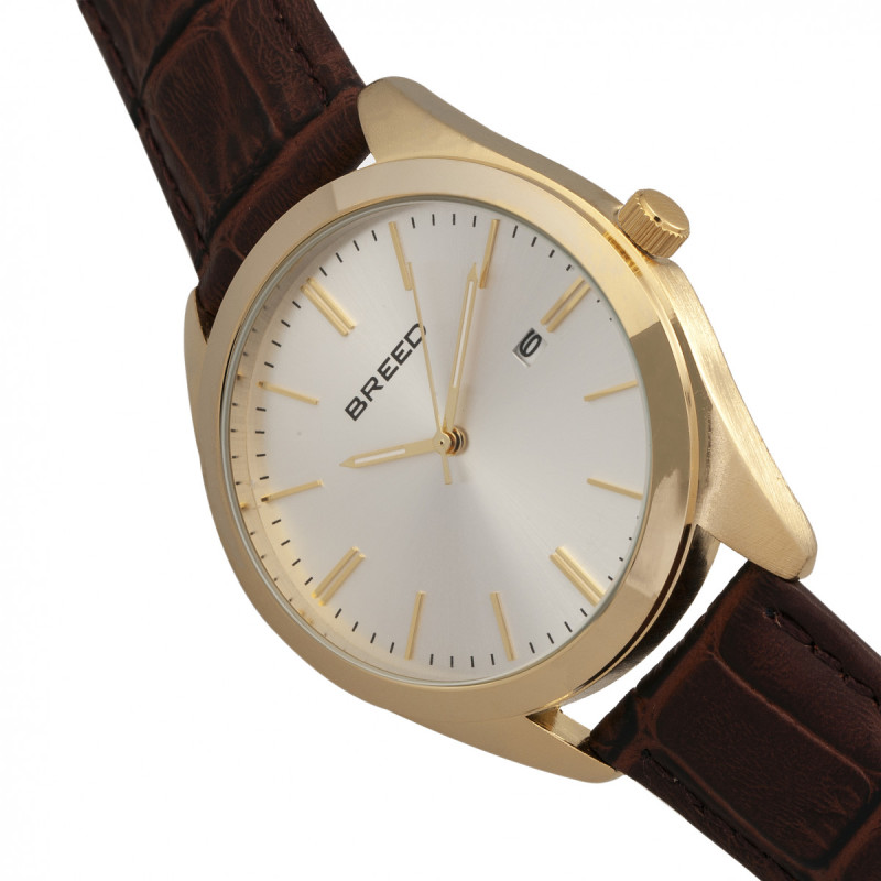 Breed Louis Leather-Band Watch w/Date - Gold/Silver BRD7904