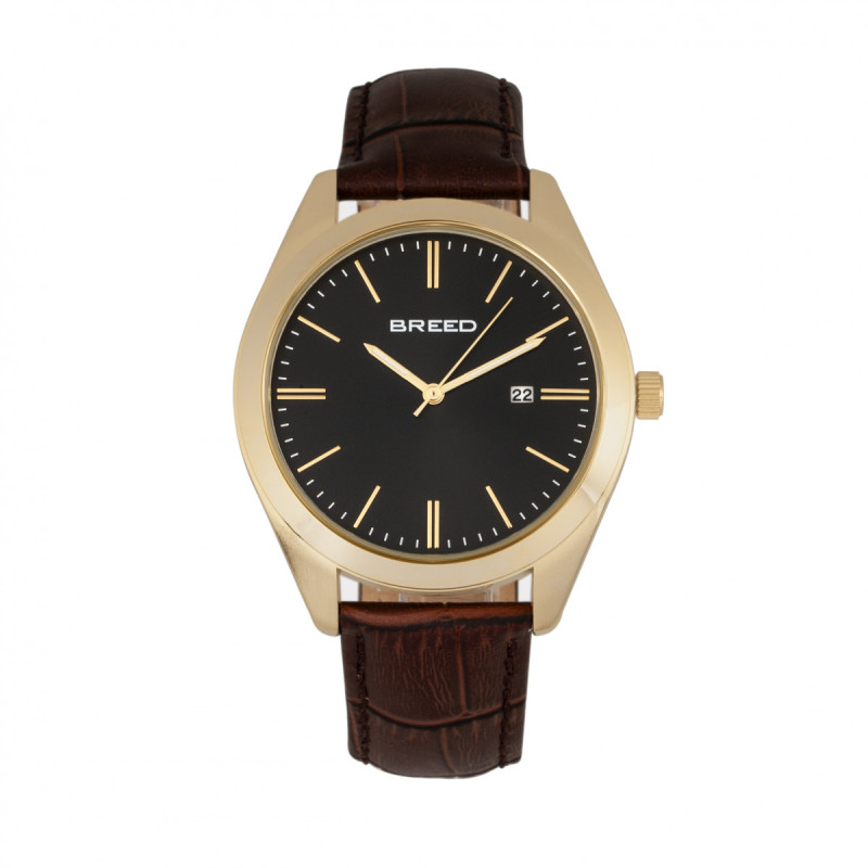 Breed Louis Leather-Band Watch w/Date - Gold/Black BRD7905