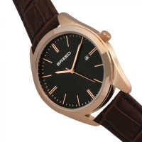 Breed Louis Leather-Band Watch w/Date - Rose Gold/Black BRD7906