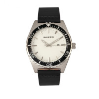 Breed Ranger Leather-Band Watch w/Date - Silver/White BRD8001