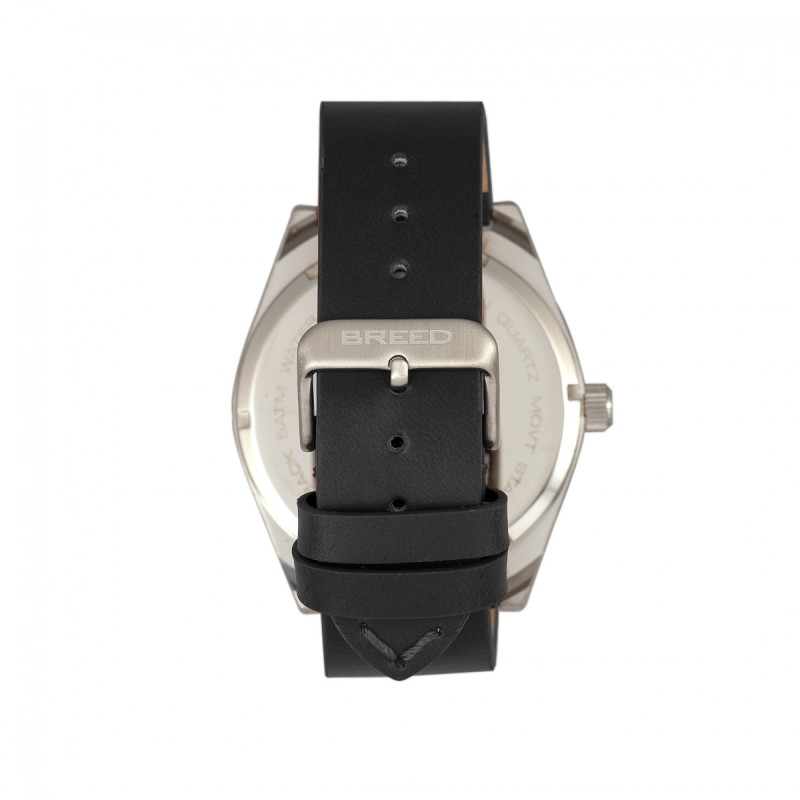 Breed Ranger Leather-Band Watch w/Date - Silver/Black BRD8002