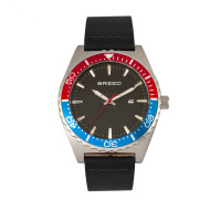 Breed Ranger Leather-Band Watch w/Date - Silver/Red/Black BRD8008
