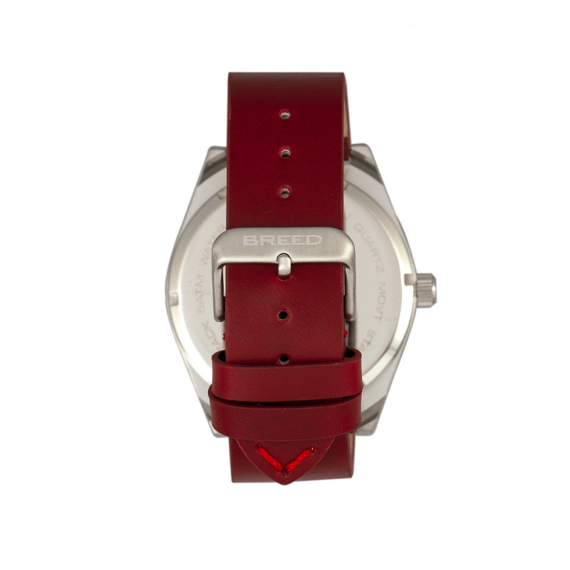 Breed Ranger Leather-Band Watch w/Date - Silver/Red BRD8004