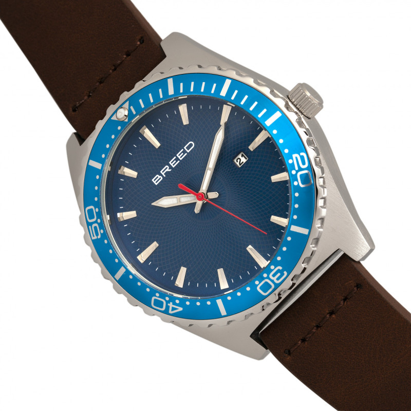 Breed Ranger Leather-Band Watch w/Date - Silver/Blue BRD8005