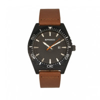 Breed Ranger Leather-Band Watch w/Date - Silver/Multi BRD8003