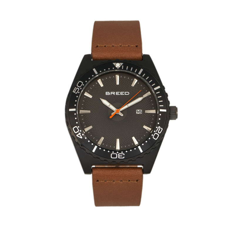 Breed Ranger Leather-Band Watch w/Date - Black/Brown BRD8006