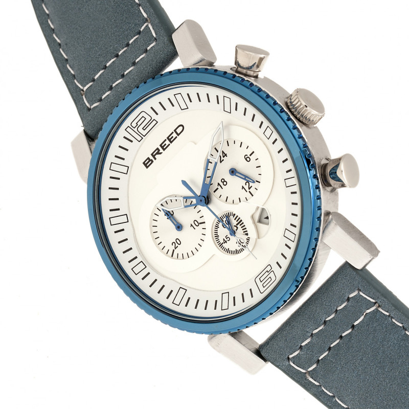 Breed Ryker Chronograph Leather-Band Watch w/Date - Teal/Silver BRD8201