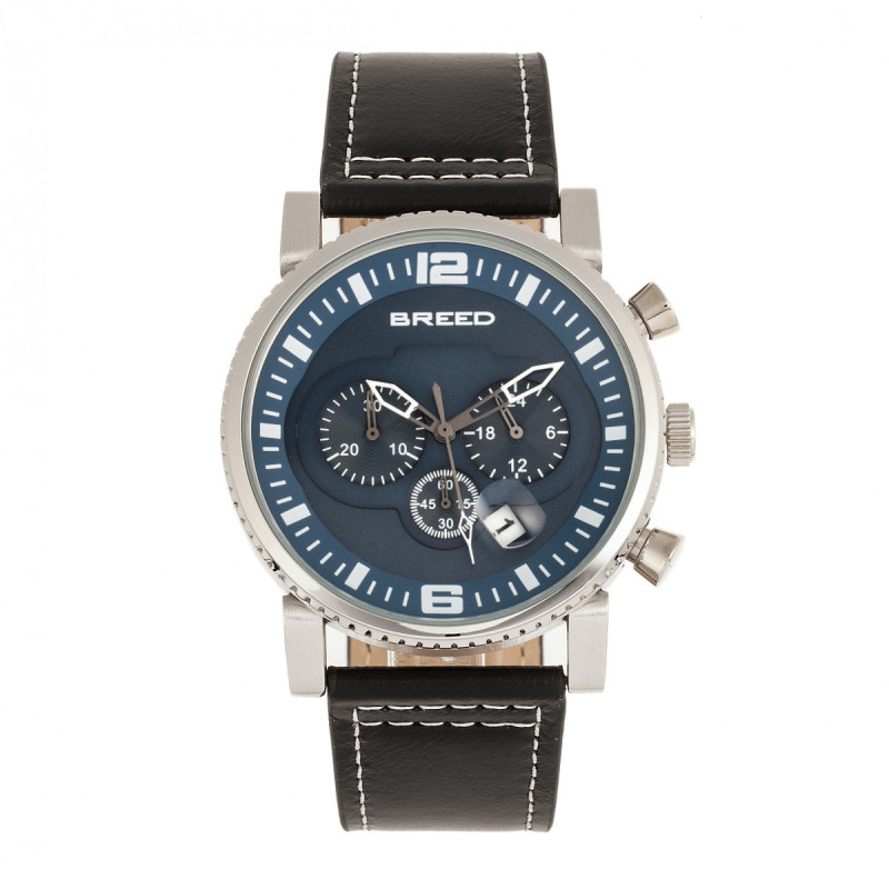 Breed Ryker Chronograph Leather-Band Watch w/Date - Black/Blue BRD8203