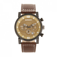 Breed Ryker Chronograph Leather-Band Watch w/Date - Camel/Gunmetal BRD8204