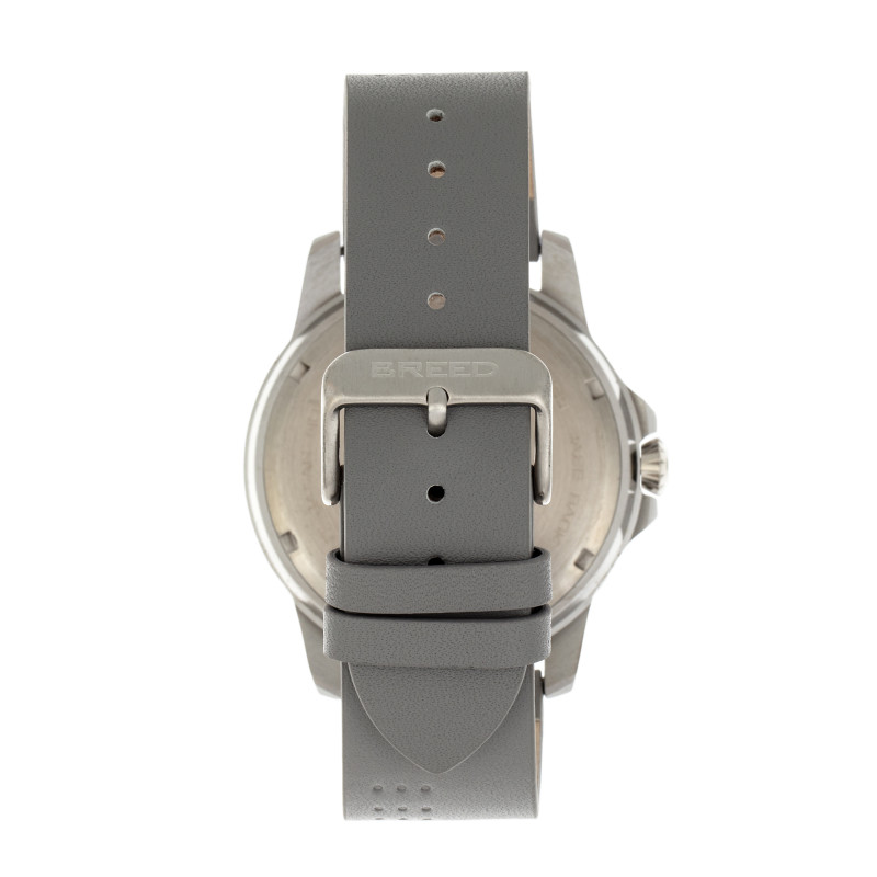 Breed Revolution Leather-Band Watch w/Date - Light Grey BRD8304