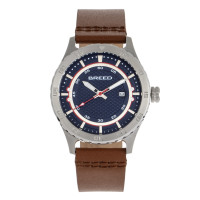Breed Mechanic Leather-Band Watch w/Date - Teal BRD8408