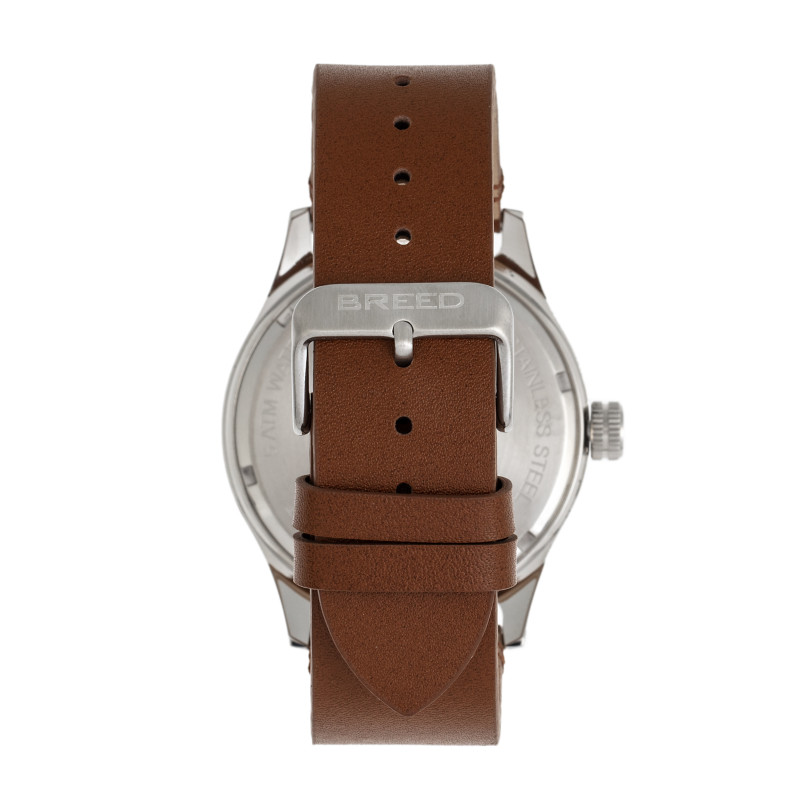 Breed Mechanic Leather-Band Watch w/Date - Navy BRD8407