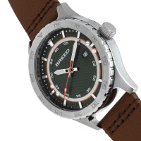 Breed Mechanic Leather-Band Watch w/Date - Green BRD8409