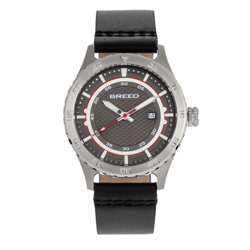 Breed Mechanic Leather-Band Watch w/Date - Grey BRD8410