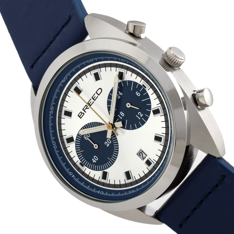 Breed Racer Chronograph Leather-Band Watch w/Date - Silver/Blue BRD8505