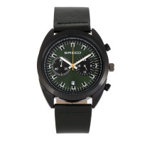 Breed Racer Chronograph Leather-Band Watch w/Date - Black/Green BRD8506