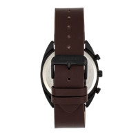 Breed Racer Chronograph Leather-Band Watch w/Date - Black/Maroon BRD8507