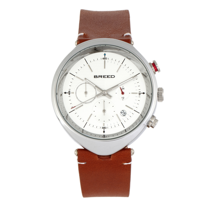 Breed Tempest Chronograph Leather-Band Watch w/Date - Brown/White BRD8601