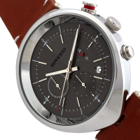 Breed Tempest Chronograph Leather-Band Watch w/Date - Brown/Grey BRD8604