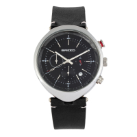 Breed Tempest Chronograph Leather-Band Watch w/Date - Black BRD8605