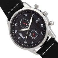 Breed Andreas Leather-Band Watch w/ Date - Silver/Black BRD8705